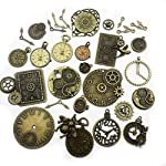 Youdiyla 100g Steampunk Clock Face Dial Pointer Charm Pendant, Mix Antique Metal Pendant Supplies Findings for Jewelry Making (Bronze HM71)