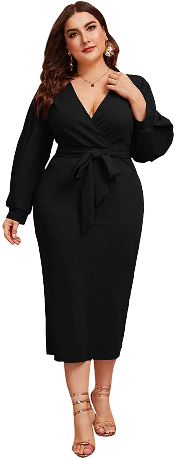 Verdusa Women's Plus Size Bishop Sleeve Plunging V Neck Belted Bodycon Dress