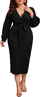 Women's Plus Size Lantern Sleeve V Neck Belted Bodycon...
