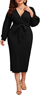 Women's Plus Size Bishop Sleeve Plunging V Neck Belted...