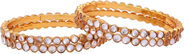 Efulgenz Indian Style Bollywood Traditional Gold Plated Kundan Crystal Wedding Bridal Bracelet Bangle Set Jewelry (4 Pc)