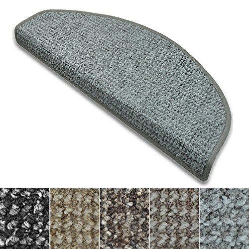 casa pura Stufenmatten Carlton | Flachgewebe dezent Gemustert | Treppenteppich in Zwei Formen | mit Teppich Läufer kombinierbar (Hellgrau - halbrund - 15 Stück)
