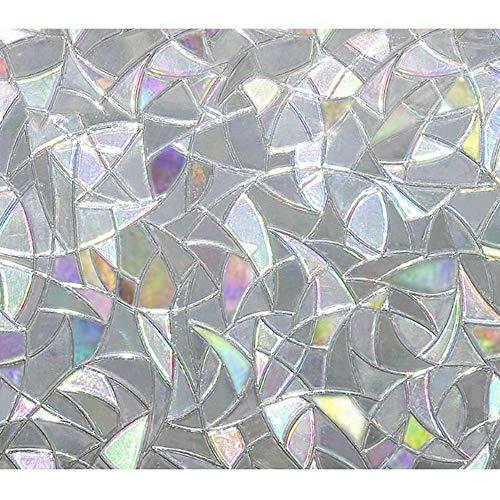 FANMU - Vinilo adhesivo para ventana de privacidad con diseño de arco iris, pegatinas removibles para ventanas, adhesivo estático para apartamento, cuarto de baño, dormitorio, 1 pieza