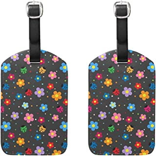 MASSIKOA Ladybugs and Flowers Cruise Luggage Tags Suitcase Labels Bag,2 Pack