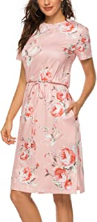 SimpleFun Womens Summer Floral Short Sleeve Side Split Pockets Casual Midi Dresses with Belt