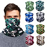 Camouflage Neck Gaiter Face Mask Bandana (9 Pack) - Camo Neck Gators Face Coverings for Men & Women I Neck Gator Masks