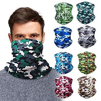 Camouflage Neck Gaiter Face Mask Bandana  9 Pack  - Camo Neck Gators Face Coverings for Men & Women I Neck Gator Masks