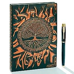 Vintage 3D Tree geprägtes Leder Schreibtagebuch Notizbuch mit goldenem Stift, A5, 200 Seiten, antikes handgefertigtes Tagebuch und Notizbuch zum Einschreiben, für Damen und Herren (Rotbronze)