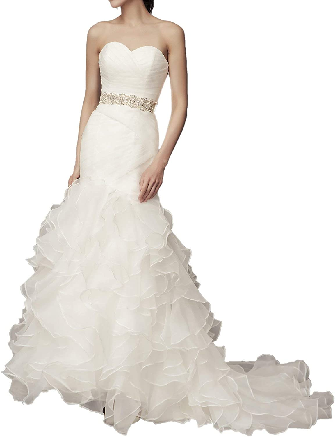 ICCELY Women's Mermaid Sweetheart Sleeveless Wedding Dresses for Bride