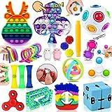 MarckersHome 26 Piezas Fidget Toys, Set de Juguetes antiestrés Barato con Anillo Mágico Arco Iris Empuje Burbuja, Fidget Box Regalo de Oficina en el Aula para niños y Adultos Relajarse
