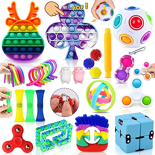 MarckersHome Fidget Toy Set, Fidget Pack für Kinder Erwachsene, lindert Stress und Angst Zappelspielzeug mit Zauberring Push-Blase für Geburtstagsfeier Kindertagsgeschenk