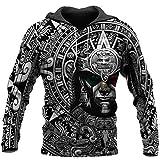 Vikings Aztec Warrior Mexican 3d All Over Printed Hoodie Unisex 3d Print Design Long Sleeves Black Hoodie Long Sleeves