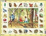 Larsen NA4 Rompecabezas de la Naturaleza: El Bosque, edición en Francés, Puzzle de Marco con 48 Piezas