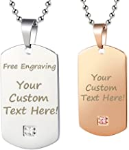 GAGAFEEL Personalized Custom Engraved Couple Friendship Family Necklace ID Tag Pendant Gemstone Love Gift