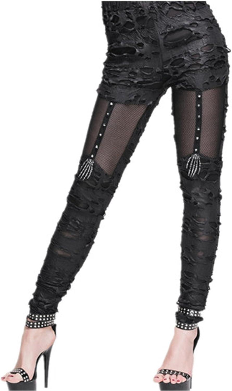 Katoot@ Sexy Vintage Cotton Patchwork Stretch Skinny Legging Women Punk Gothic Do Old Fitness Legging Pants