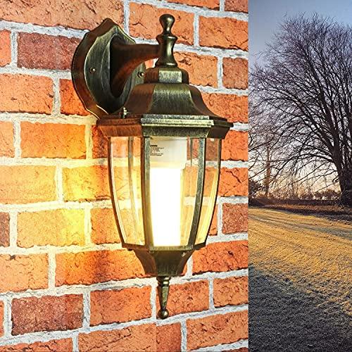 Down Leuchte außen LYON Gold Antik H:38cm wetterfest rustikal Laterne Wandlampe Hof Balkon Terrasse