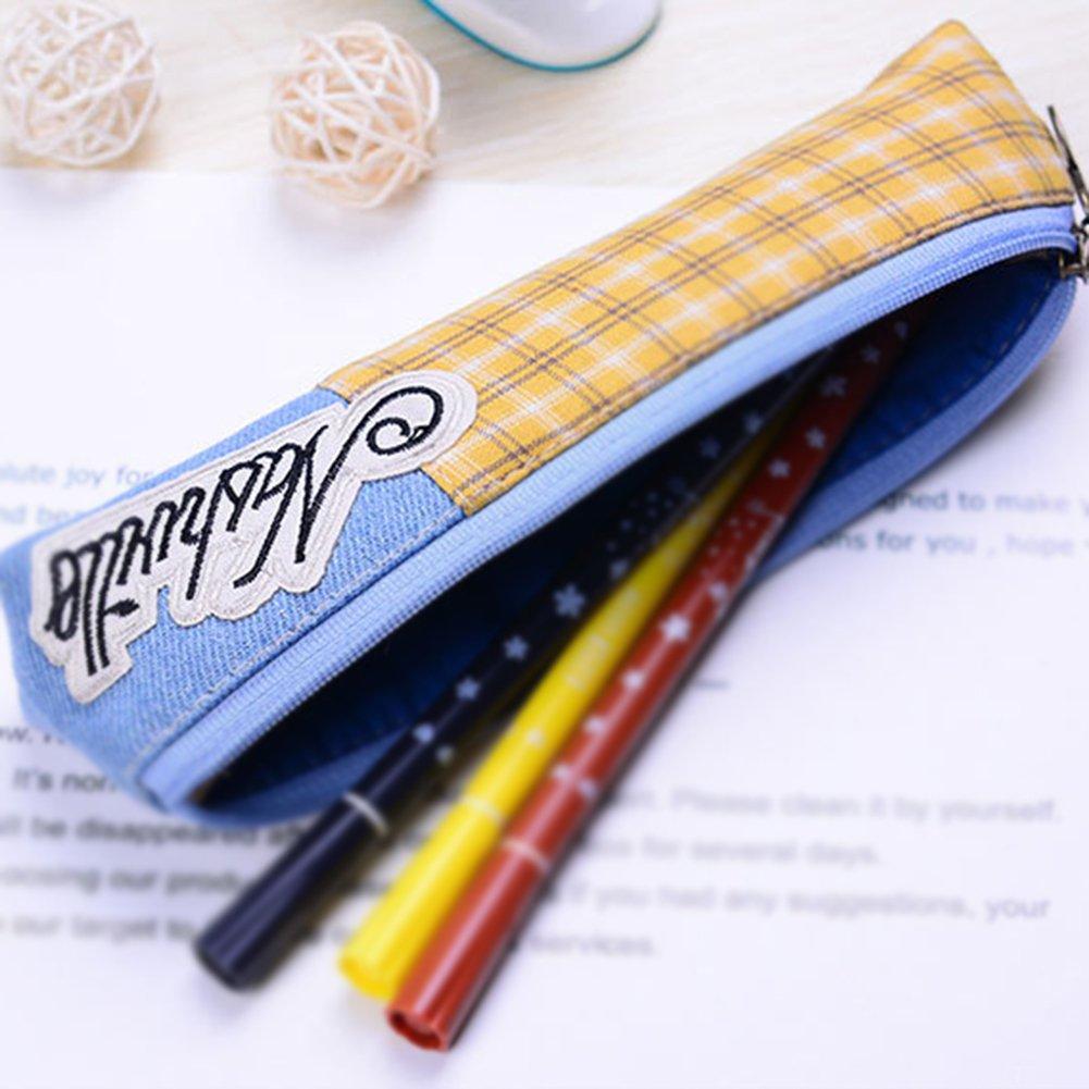 fablcrew lápiz caso lápiz bolsa Vintage Denim Dye estuche escuela oficina papelería 19x3.5cx4cm pink+Light blue: Amazon.es: Hogar