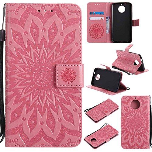 pinlu PU Leder Tasche Etui Schutzhülle für Motorola Moto G6 Plus Lederhülle Schale Flip Cover Tasche mit Standfunktion Sonnenblume Muster Hülle (Rosa)