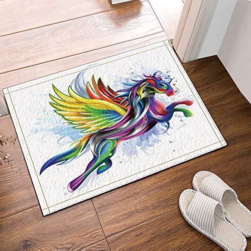 JHTRSJYTJ Art Deco Creativo Color Que Vuela Unicornio Antideslizante Estera de la Puerta Alfombra de baño Exterior 15.7x23.6in