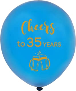 Blue cheers to 35 years latex balloons, 12inch (16pcs) 35th birthday decorations party supplies for man and woman