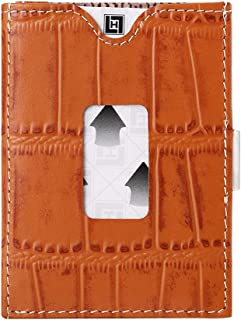 LIULIHUA Minimalist Wallets for Men Slim Credit Card Trifold Wallets-RFID Blocking and Cow Leather Case Orange crocodile p...