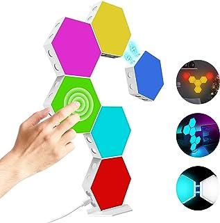Hexagon Light Panels Kit,DIY Magnetische Hexagon Led Kann Kreative 2D und 3D Formen Erstellen,Mit Ständer und Viskose,7 Fa...