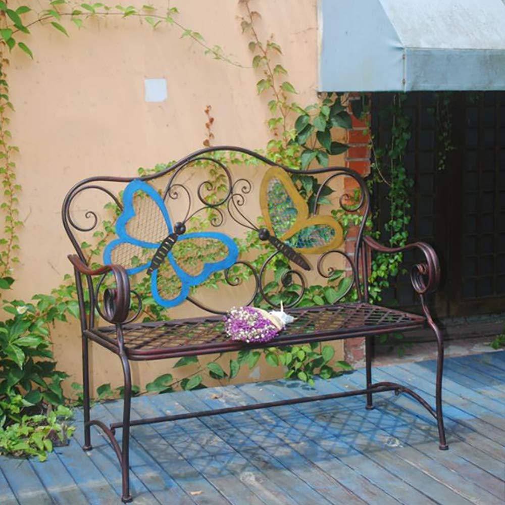 zenggp Mariposa De Hierro Forjado Asiento De Jardín Muebles De Jardín Silla con Respaldo Muebles De Patio Al Aire Libre: Amazon.es: Hogar