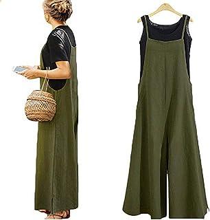 bb2df9d9e39b Yoawdats Women Summer Loose Linen Suspender Overalls Jumpsuit Bib Trousers  Wide Leg Pants Plus Size