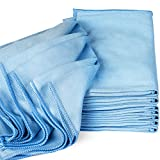 Zflow Microfiber Glass Cleaning Cloths - 8 Pack (16 x 16) - Streak Free - Lint Free - Quickly Clean Windows, Windshields, Mirrors, and Stainless Steel
