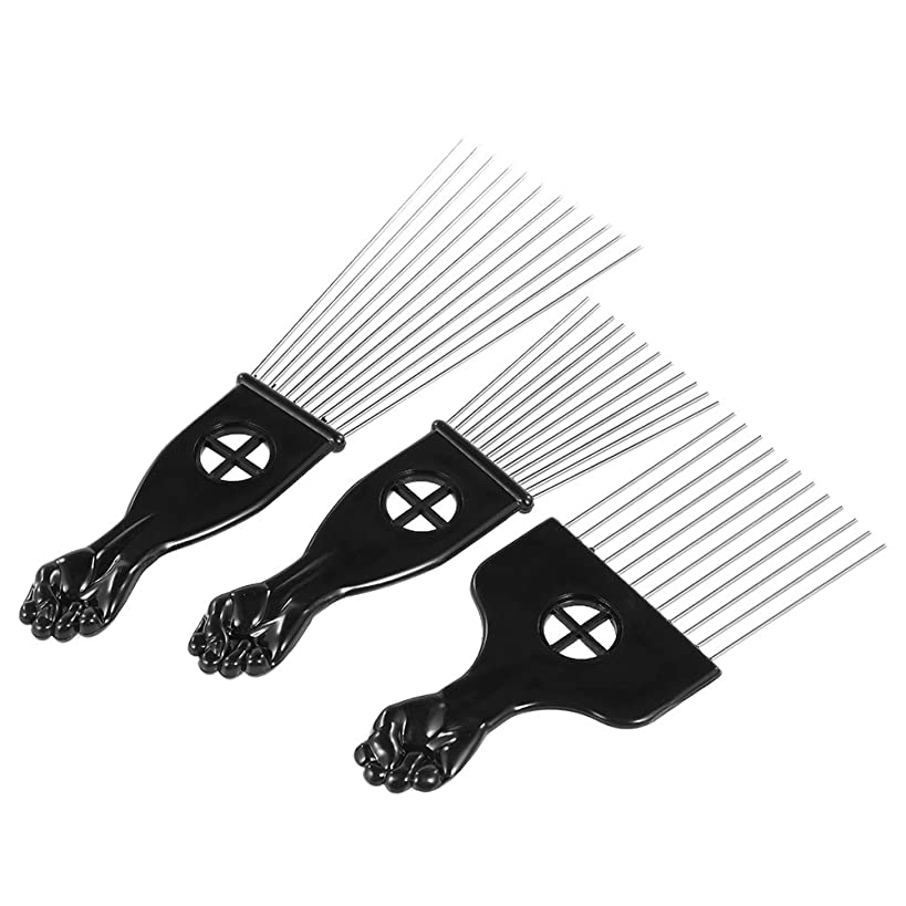 Afro Combs, Anself 3Pcs Metal African American Pick Comb Hair Brush Hairdressing Styling Tool