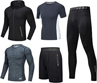 Mens Thermal Base Layer Long Sleeve Compression Top Leggings Tights Underwear Set Wicking Set Hoodies Jackets