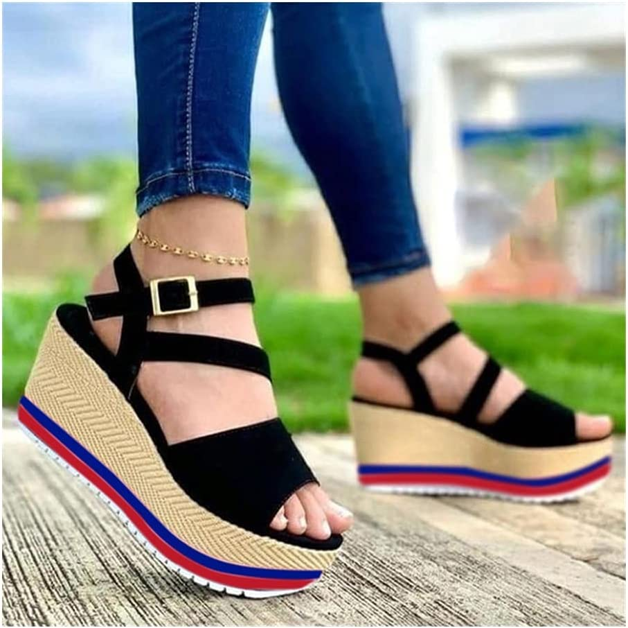 Women Sandals 2021 New Heels Woman Slippers Platform Wedges Shoes Ladies Summer Slides Mujer Buckle Flip Flops Plus Size 43 (Color : C Black, Shoe Size : 35)