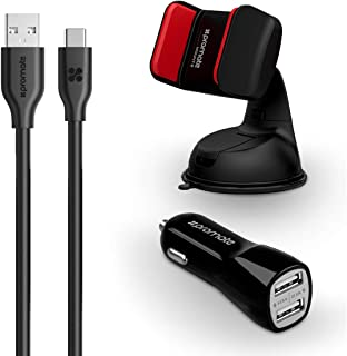Promate 3-In-1 Car Kit, Potable 3.1A Dual USB Fast Car Charger Adapter with 1.2m USB Type-C to USB Data Sync Cable, Over C...