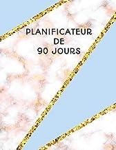 Planificateur de 90 Jours: Design Stylisé en Marbre Blue Rose et Or | Agenda de 3 Mois avec Calendrier 2019 | Planificateur quotidien | 13 Semaines (French Edition)