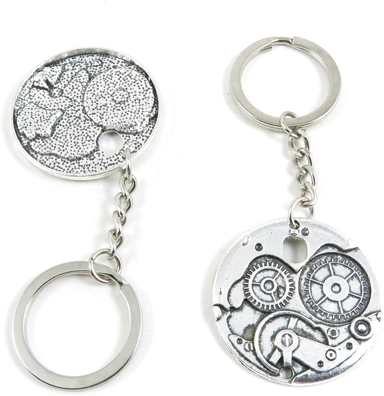 100 Pieces Fashion Jewelry Keyring Keychain Door Car Key Tag Ring Chain Supplier Supply Wholesale Bulk Lots L6UL6 WatchWheel Gear Cog Steampunk