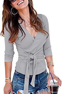 Women's Wrap Top Blouse Long Sleeve Crossover V Neck Waist Tie Knot Knitted Top Blouse