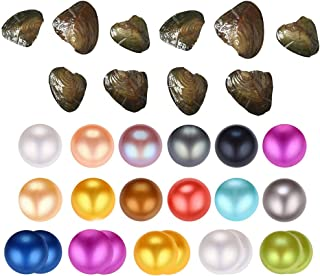 HENGSHENG 10 PCS Freshwater Pearl Oysters with 6-8 mm Nearly Round Pearl Inside Random Color (9 pcs Single Pearl Oysters& 1 pc Twins Pearls Oyster)