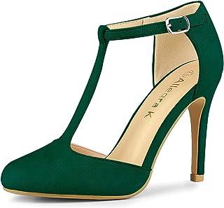 Allegra K Women's Rounded Toe Stiletto Heel T-Strap Dress Pumps
