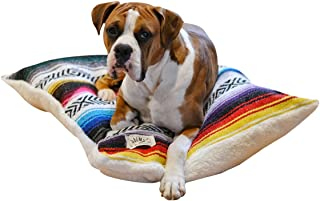 Del Mex Reversible Dog Bed Pillow Made from Mexican Blanket with Sherpa