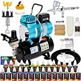 Master Airbrush Cool Runner II Dual Fan Air Storage Tank Compressor System Kit with a G44 Fine Detail Control 0.2mm Tip Airbrush, 24 Color Acrylic Paint Artist Set, Holders, Cleaning Pot, How-To Guide