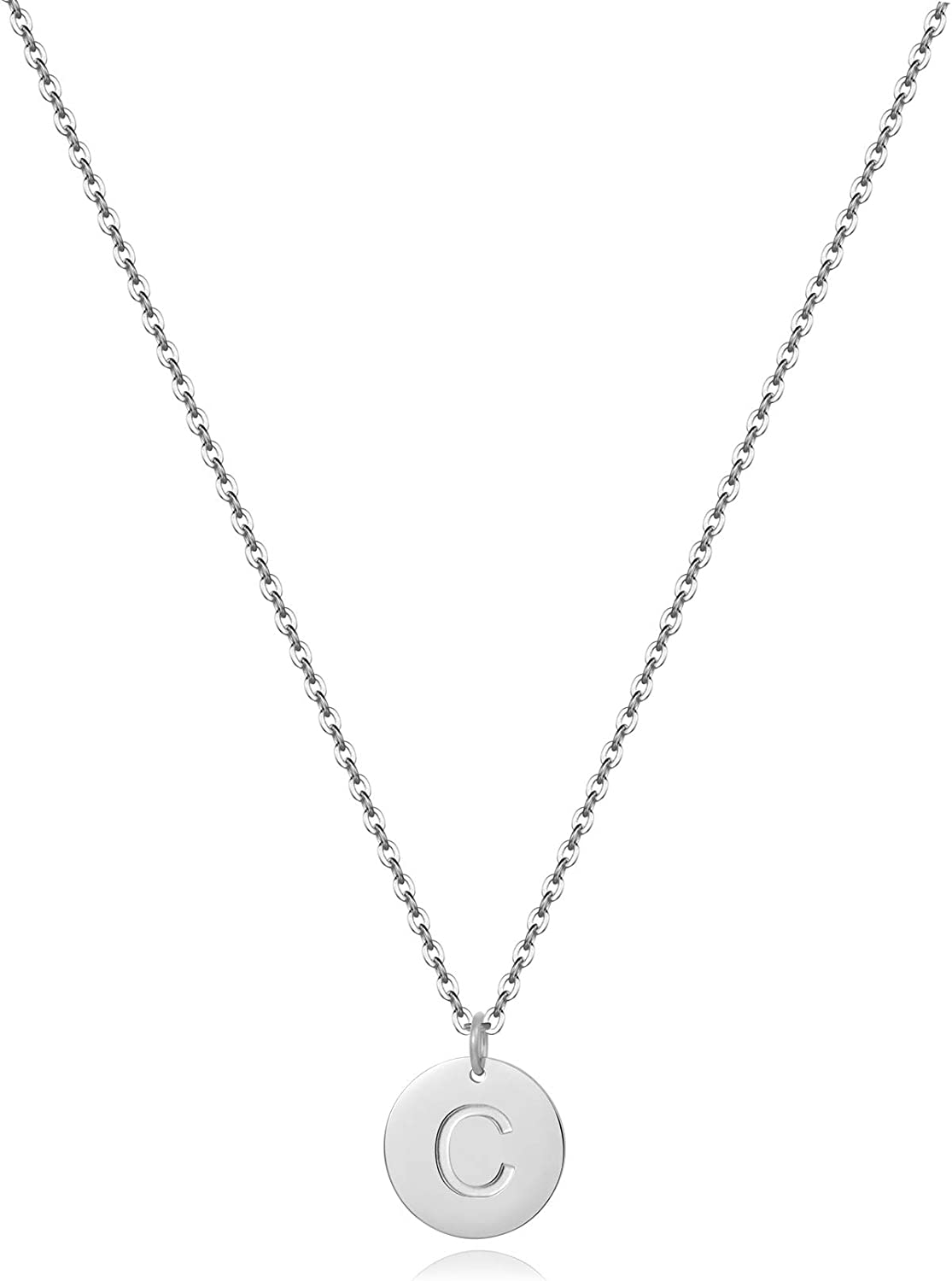 All stores are sold Disc Initial Necklaces for Women Plated Doub 25% OFF 18K Round Gold