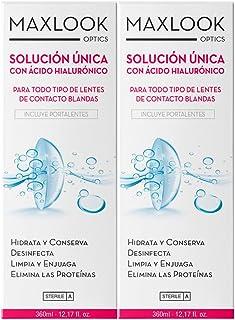 Maxlook Solución Única con Ácido Hialurónico Para Lentes de Contacto Blandas Pack 360ml+360ml
