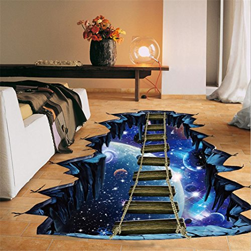 Quistal 3D Interstellar Space Floor Stickers, Galaxy Suspension Bridge Wall Decals, Milky Way Decorations (Blue)