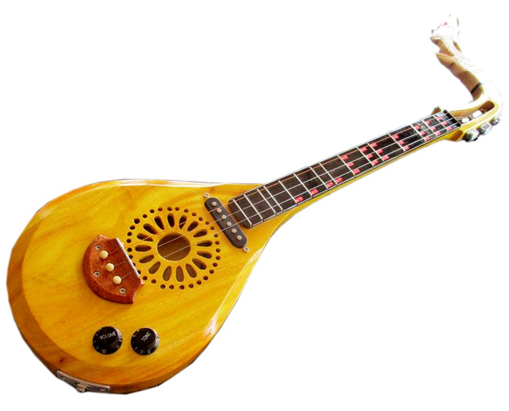 Isarn acústica eléctrica Phin 3 cuerdas, Thai Lao guitarra instrumento musical, música tradicional tailandés pin55: Amazon.es: Instrumentos musicales