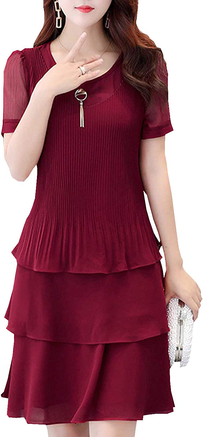 D.B.M Women's Slim Round Neck Short Sleeve Cake Skirt Hem Chiffon Dress