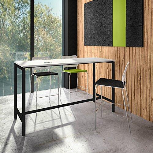 Weber Büro Stehtisch NOVA 180 x 70 cm groß Hochtisch Bartisch Tresentisch Theke, Gestellfarbe:Schwarz
