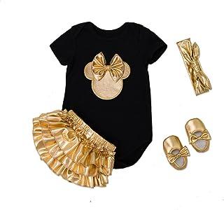 Belababy Baby Mädchen Strampler 1. Geburtstag Party Tutu Kleider Sets Schuhe mit Stirnband Outfits