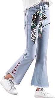 Aislor Jeans Elégants Enfant Fille Denim Pantalon Ample Jambes Large Lâche Pantalons avec Poches Ete Streetwear 1-14 Ans