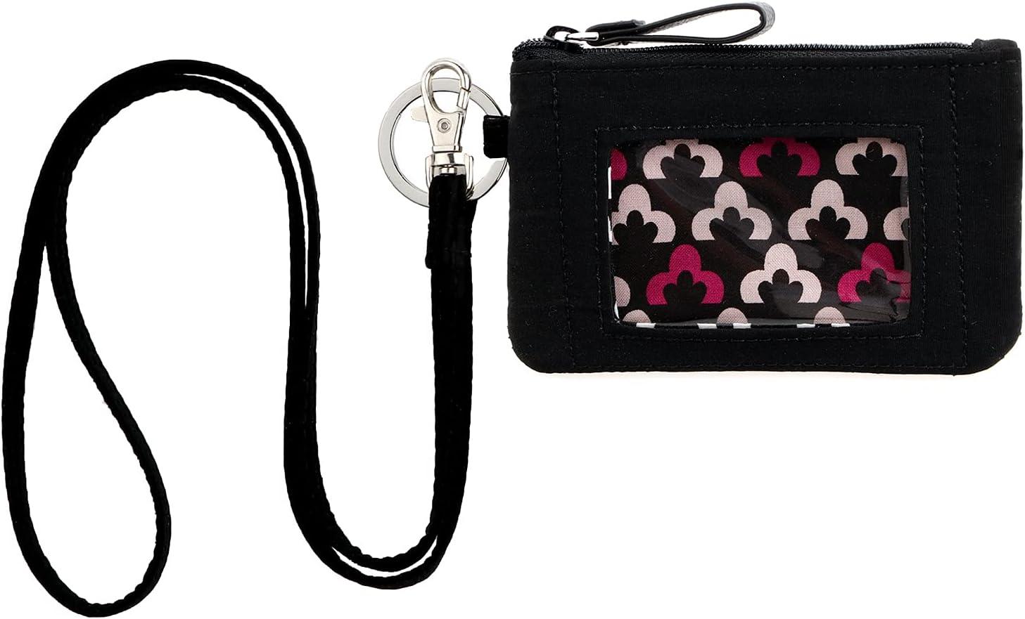 DONGGANGAJI Classic Black Lanyard with Zip ID Case, Fashion Lanyard Wallet, ID Case Wallet with Lanyard,lanyards with wallet (Black-B)