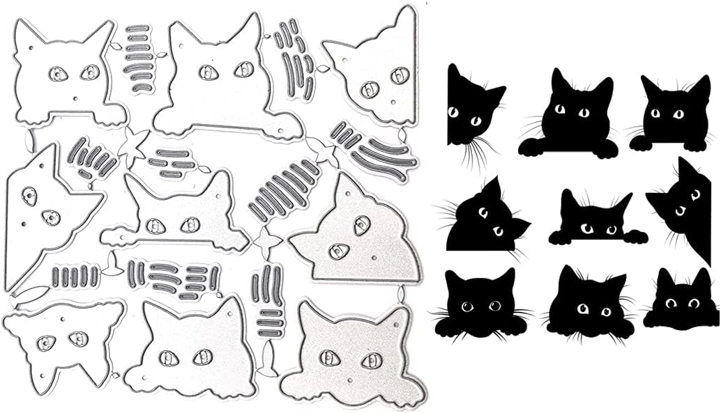 LZBRDY 9 Pieces Set Cats Max 41% OFF Head Scrapbookin Dies for Metal Cutting Year-end annual account